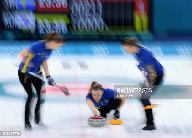 Agnes Knochenhauer of Sweden throws a stone in the 6th end during the Women's Gold Medal Game between Sweden and Korea on day sixteen of the...