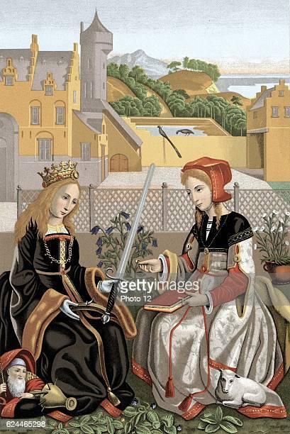Agnes martyred c304 patron saint of virgins with her emblem a lamb and Catherine of Alexandria wearing coronet representing royal descent holding...