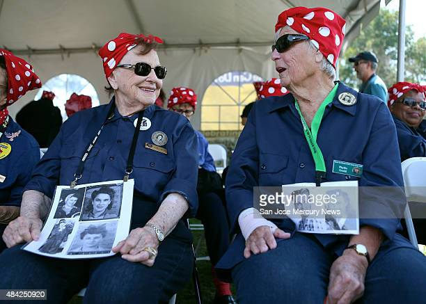 Agnes Moore and Phyllis Gould from left who both worked as welders in the Richmond shipyards during WWII chat as they wait to join with hundreds of...