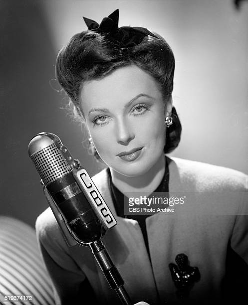 Agnes Moorehead at CBS Radio microphone Hollywood CA Image dated January 1 1943