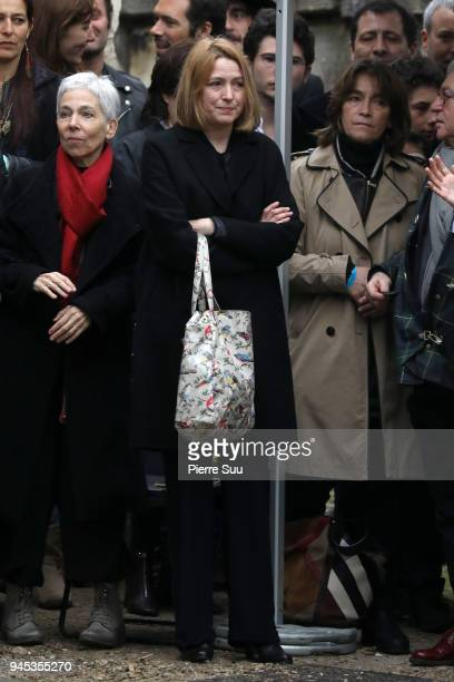 Agnes Soral is seen at Jacques Higelin's funeral at 'Le Pere Lachaise' cementary on April 12 2018 in Paris France