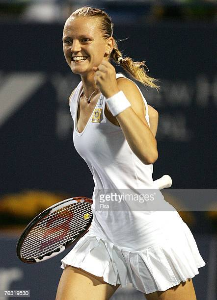 Agnes Szavay of Hungary celebrates her 466175 win over Eleni Daniilidou of Greece during the Pilot Pen Tennis Tournament on August 24 2007 at the...