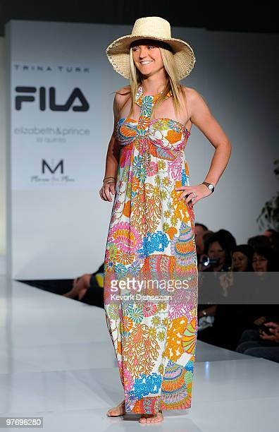 Agnes Szavay of Hungary participates in a fashion show during the BNP Paribas Open on March 13 2010 in Indian Wells California