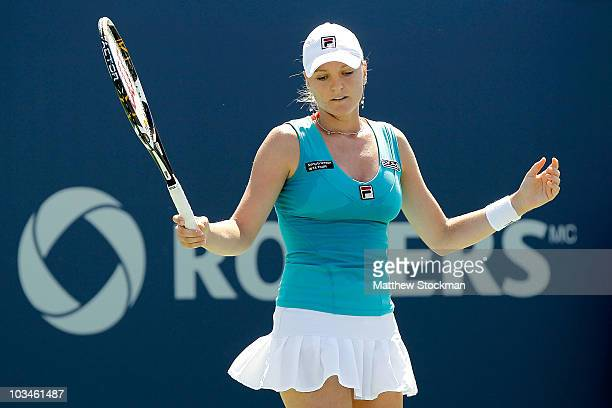 Agnes Szavay of Hungary reacts to a lost point while playing Vera Zvonareva of Russia during the Rogers Cup at Stade Uniprix on August 19 2010 in...