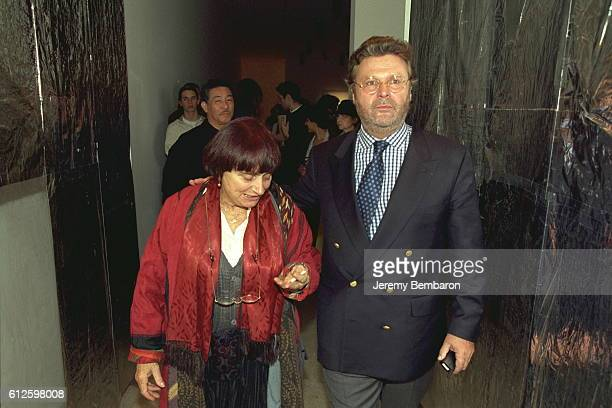 Agnes Varda and Alain Dominique Perrin visit the exhibition under Issey Miyake's watchful eye