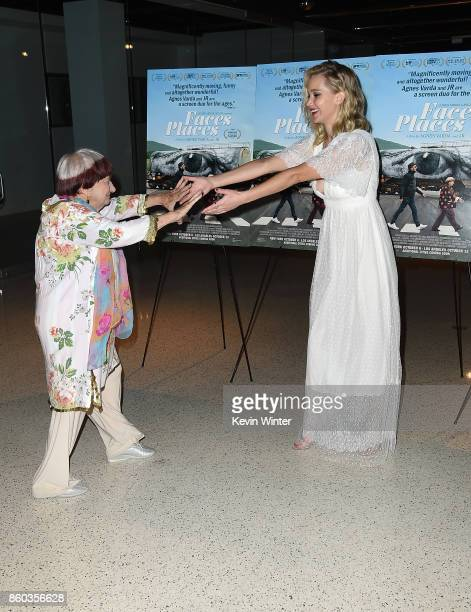 Agnes Varda and Jennifer Lawrence attend the premiere of Cohen Media Group's Faces Places at Pacific Design Center on October 11 2017 in West...