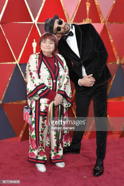 Agnes Varda and JR attend the 90th Annual Academy Awards at Hollywood Highland Center on March 4 2018 in Hollywood California