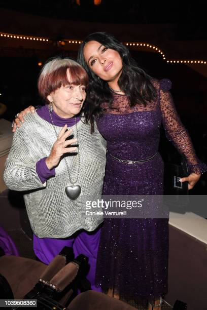 Agnes Varda and Salma Hayek Pinault attend the Gucci show during Paris Fashion Week Spring/Summer 2019 on September 24 2018 in Paris France