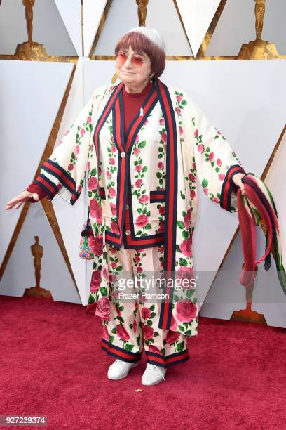 Agnes Varda attends the 90th Annual Academy Awards at Hollywood Highland Center on March 4 2018 in Hollywood California