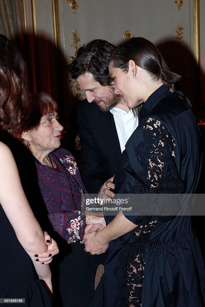 Agnes Varda, Guillaume Canet and Marion Cotillard, pregnant, attend the 'Cesar - Revelations 2017' Dinner at Hotel Meurice on January 16, 2017 in Paris, France.