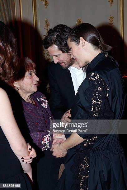 Agnes Varda Guillaume Canet and Marion Cotillard pregnant attend the 'Cesar Revelations 2017' Dinner at Hotel Meurice on January 16 2017 in Paris...