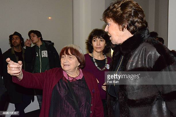 Agnes Varda Nathalie Obadia and Lise Toubon attend the 'Tryptiques Atypiques' Agnes Varda Photo Exhibition Preview At Galerie Nathalie Obadia on...