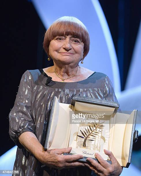 Agnes Varda receieves an Honorary Palme d'Or attends the closing ceremony during the 68th annual Cannes Film Festival on May 24 2015 in Cannes France