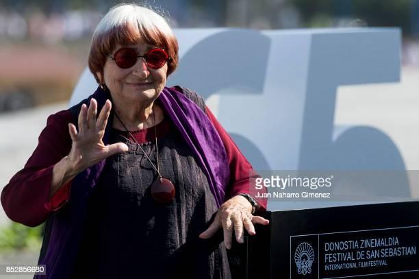Agnes Varda receives Donostia Award during 65th San Sebastian Film Festival on September 24, 2017 in San Sebastian, Spain.
