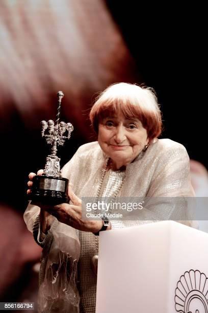 Agnes Varda receives the Donostia Award during 65th San Sebastian Film Festival on September 24 2017 in San Sebastian Spain