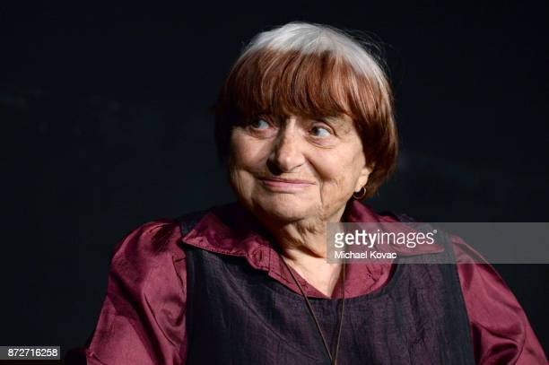 Agnes Varda speaks onstage at the 'World Cinema Master In Conversation Agnes Varda' at AFI FEST 2017 Presented By Audi at the Egyptian Theatre on...
