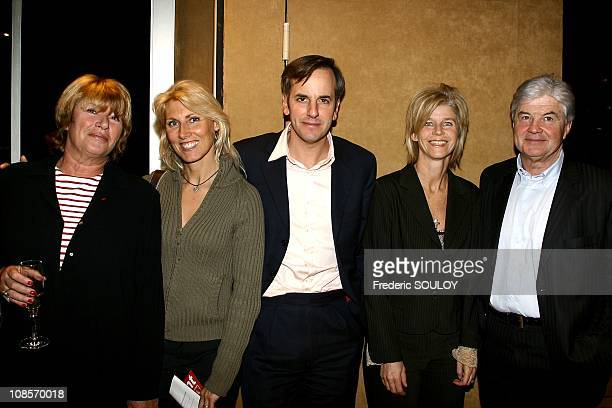Agnes Vincent Deray Marie Sara Lambert Bernard de La Villardiere with his wife Anne and Herve Chabalier in Paris France on January 30th 2004