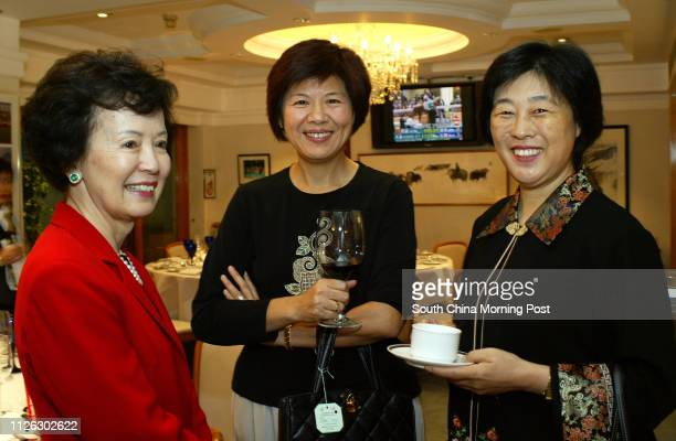 Agnes Wong Linda Hsu and Mrs Zhao wife of Mr Zhao Guangting attend the cocktail reception for the South China Morning Post Centenary Cup at Happy...