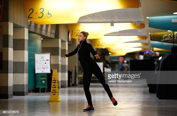 Agnes Zawadzki practices in the hallway ahead of the 2014 Prudential US Figure Skating Championships at TD Garden on January 8 2014 in Boston...