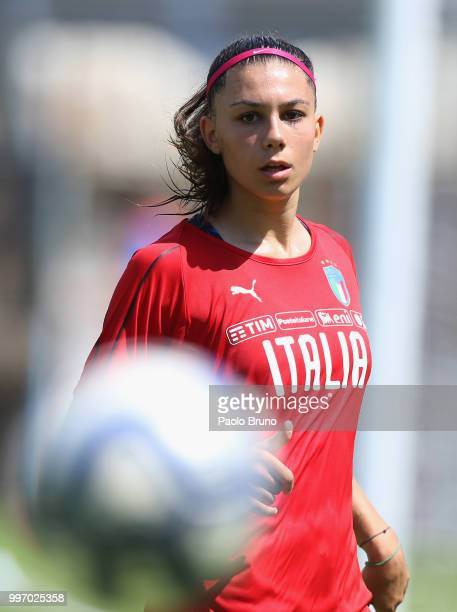 Agnese Bonfantini of Italy looks on during the Italy women U19 photocall and training session on July 12 2018 in Formia Italy