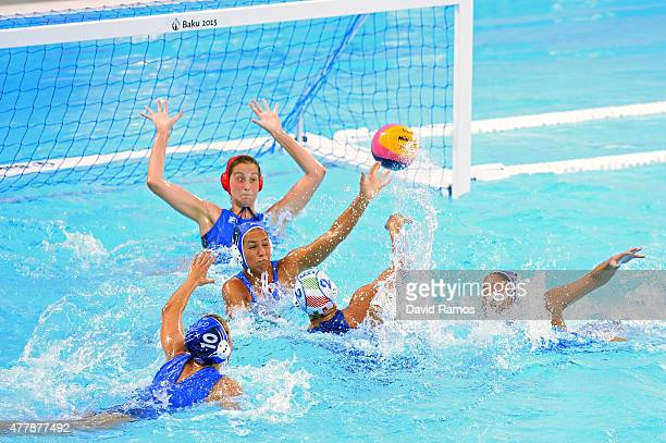 Agnese Cocchiere of Italy scores a goal during the Women's Waterpolo bronze medal match between Italy and Greece on day eight of the Baku 2015...