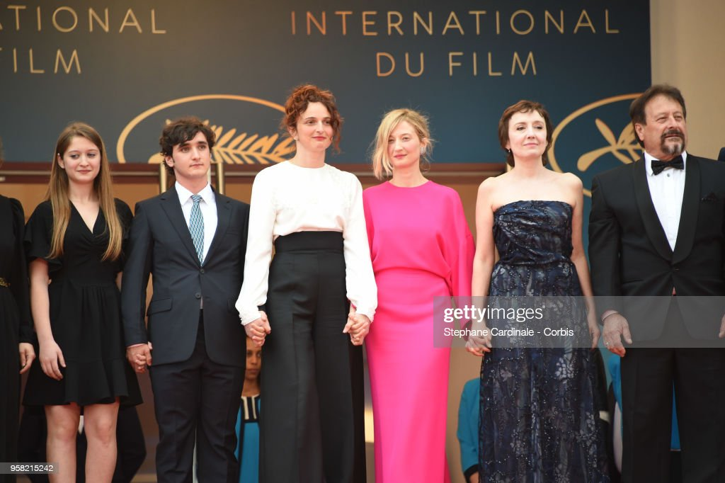 Agnese Graziani, Adriano Tardiolo, Alice Rohrwacher, Alba Rohrwacher, Nicoletta Braschi and Natalino Balasso attend the screening of 'Happy As Lazzaro (Lazzaro Felice)' during the 71st annual Cannes Film Festival at Palais des Festivals on May 13, 2018 in Cannes, France.
