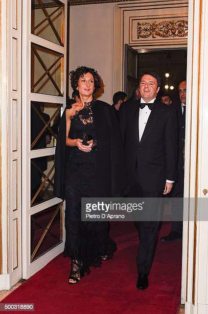 Agnese Landini and Matteo Renzi attend Teatro Alla Scala 2015/16 Season Opening on December 7, 2015 in Milan, Italy.