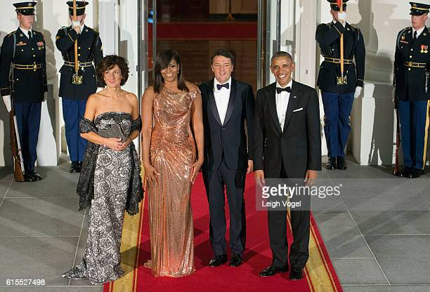 Agnese Landini, First Lady Michelle Obama, Italian Prime Minister Matteo Renzi and President Barack Obama enter the White House for the State Dinner...