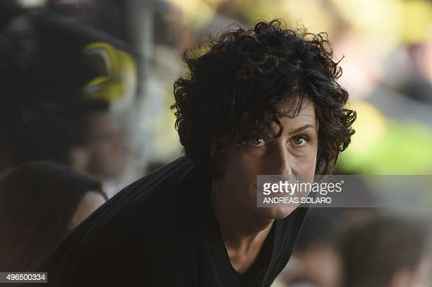 "Agnese Landini, wife of Italian Premier Matteo Renzi arrives for a papal mass at the ""Artemio Franchi"" municipal stadium on November 10, 2015 in..."