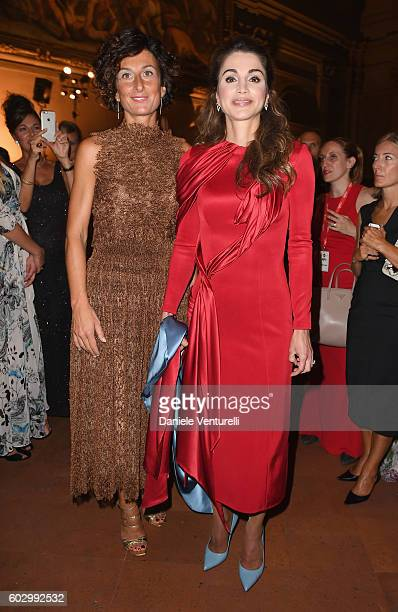 Agnese Renzi and Queen Rania of Jordan attend the Celebrity Fight Night gala at Palazzo Vecchio as part of Celebrity Fight Night Italy benefiting The...