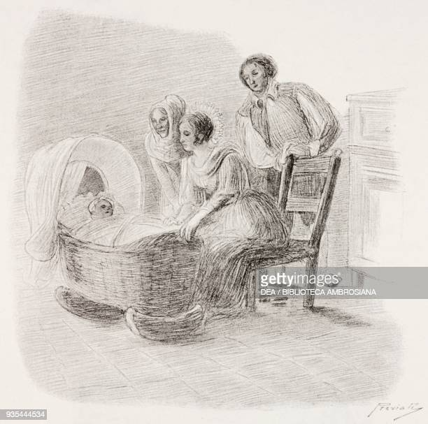 Agnese Renzo Lucy and their daughter Maria illustration by Gaetano Previati from The Betrothed A Milanese story of the 17th century History of the...