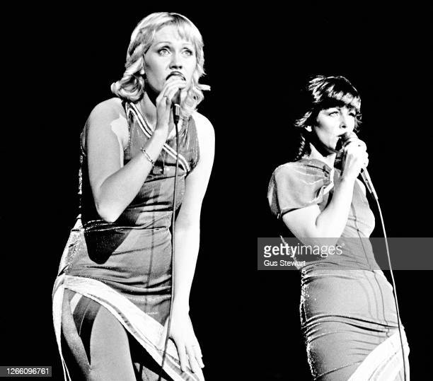 Agnetha Faltskog and Anni-Frid Lyngstad of ABBA perform on stage at the Wembley Arena, London, England, on November 5th, 1979.