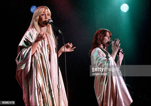 Agnetha Faltskog and AnniFrid Lyngstad of Abba perform on stage at the Brondbyhallen on January 31st 1977 in Copenhagen Denmark