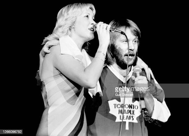 Agnetha Faltskog and Benny Andersson of ABBA perform on stage at Wembley Arena, London, England, on November 5th, 1979. Benny Andersson is wearing a...