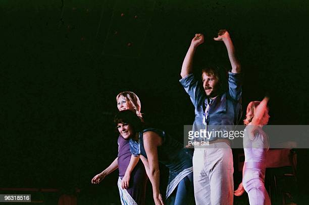 Agnetha Faltskog AnniFrid Lyngstad Benny Andersson and Bjorn Ulvaeus of ABBA perform on stage at Wembley Arena on November 8th 1979 in London United...