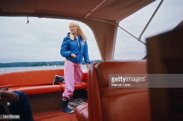 Agnetha Faltskog at the back of a boat