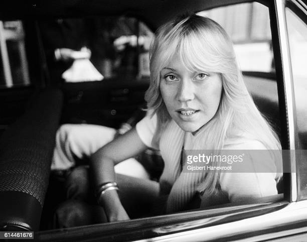 Agnetha Faltskog of Abba arrives in a car to appear on a Dutch TV show 'een van de acht', The Hague, Netherlands, November 23, 1976.