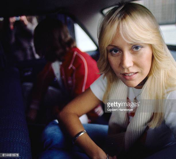 Agnetha Faltskog of Abba arrives in a car to appear on a Dutch TV show 'een van de acht' The Hague Netherlands November 23 1976