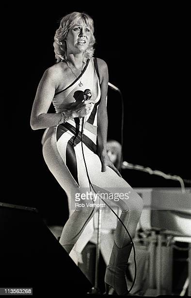 Agnetha Faltskog of Abba performs on stage at Ahoy, Rotterdam, Netherlands, 24th October 1979.