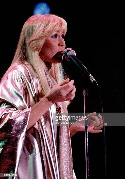 Agnetha Faltskog of Abba performs on stage at the Brondbyhallen on January 31st 1977 in Copenhagen Denmark