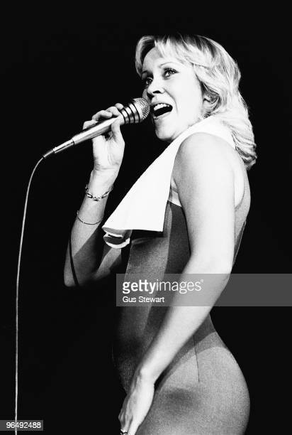Agnetha Faltskog of Abba performs on stage at Wembley Arena on November 9th 1979 in London