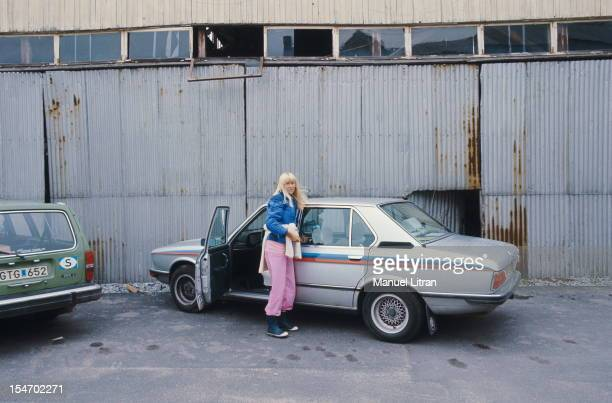 Agnetha Faltskog out of a car