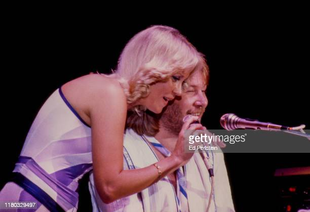 Agnetha Fältskog and Benny Andersson perform with ABBA at Concord Pavilion on September 19, 1979 in Concord, California.