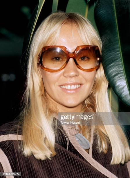 Agnetha Fältskog singer with the Swedish pop group ABBA arrives in London to take part in the Eurovision Song Contest in April 1974 in London England