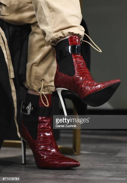 Agnez Mo boots detail attends the Build Series to discuss her new album 'X' and music video 'Damn I Love You' at Build Studio on November 7 2017 in...