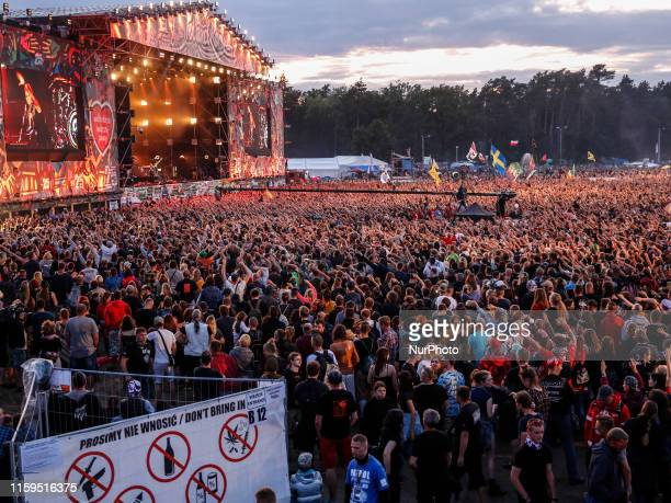 Agnieszka Chylinska gives concert in front of thousands of people on a main stage of the 25th PolnRock music festival in Kostrzyn at Odra Poland on...