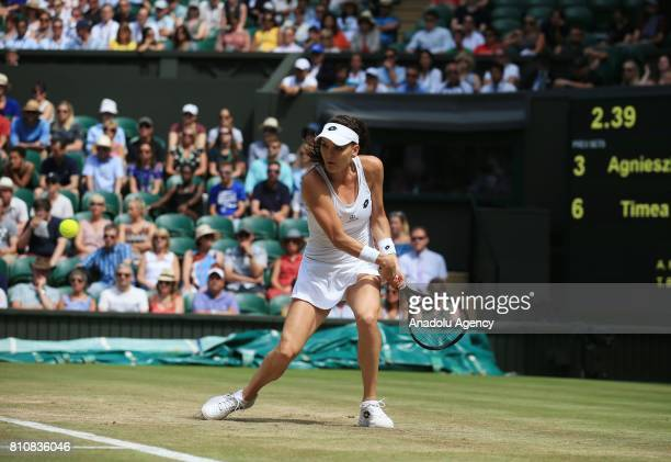 Agnieszka of Poland in action against Timea Bacsinszky of Switzerland on day six of the 2017 Wimbledon Championships at the All England Lawn and...