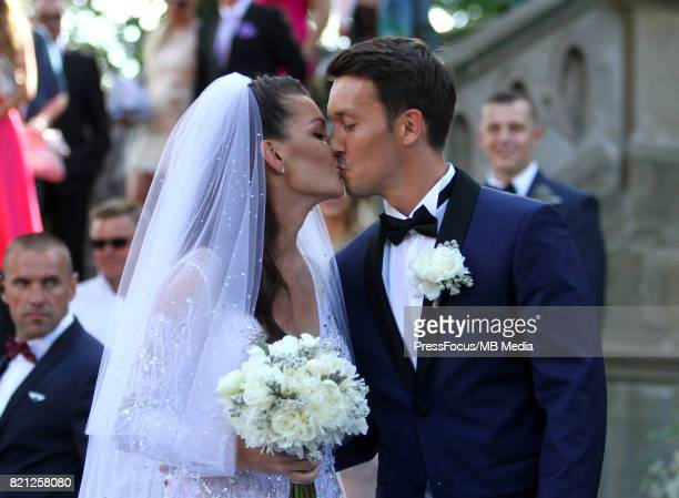 Agnieszka Radwanska Dawid Celt during the wedding ceremony on July 22 2017 in Krakow Poland
