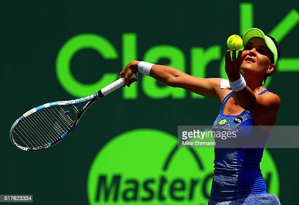 Agnieszka Radwanska of Polan plays a match against Madison Brengle during Day 6 of the Miami Open presented by Itau at Crandon Park Tennis Center on...