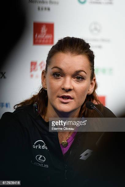 Agnieszka Radwanska of Poland attends a press conference after winning against Caroline Wozniacki of Denmark during the Women's singles third round...